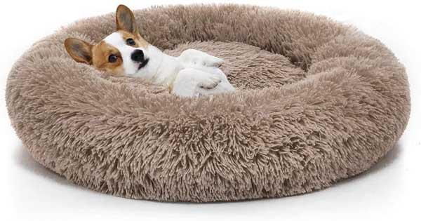 Panier rond en peluche pour chien